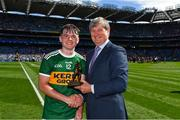 2 September 2018; Pat O'Doherty, ESB Chief Executive at the Electric Ireland GAA Minor Championships, presents Killian Falvey of Kerry with the Man of the Match award for his major performance in the Electric Ireland GAA Minor Football Championship Final. Throughout the Championships, fans can follow the conversation, vote for their player of the week, support the Minors and be a part of something major through the hashtag #GAAThisIsMajor. Photo by Brendan Moran/Sportsfile