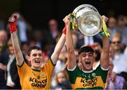 2 September 2018; Kerry captain Paul O'Shea, right, and Keith O'Leary lift the Tom Markham Cup following the Electric Ireland GAA Football All-Ireland Minor Championship Final match between Kerry and Galway at Croke Park in Dublin. Photo by Seb Daly/Sportsfile