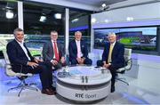 2 September 2018; RTÉ Sunday Game presenter Michael Lyster, right, with panalists, from left, Colm O'Rourke, Joe Brolly and Pat Spillane ahead of Lyster's final Sunday Game broadcast prior to the GAA Football All-Ireland Senior Championship Final match between Dublin and Tyrone at Croke Park in Dublin. Photo by Brendan Moran/Sportsfile