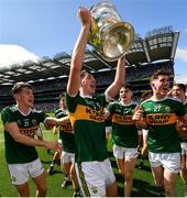 2 September 2018; Michael Lenihan of Kerry celebrates with the Tom Markham Cup following the Electric Ireland GAA Football All-Ireland Minor Championship Final match between Kerry and Galway at Croke Park in Dublin. Photo by Seb Daly/Sportsfile