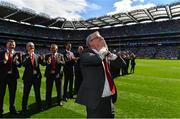 2 September 2018; Joe Brolly of the Derry 1993 All-Ireland winning Jubilee team blows kisses to the crowd as the team are honoured prior to the GAA Football All-Ireland Senior Championship Final match between Dublin and Tyrone at Croke Park in Dublin. Photo by Brendan Moran/Sportsfile