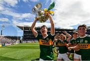 2 September 2018; Jack Kennelly of Kerry celebrates with the Tom Markham Cup following the Electric Ireland GAA Football All-Ireland Minor Championship Final match between Kerry and Galway at Croke Park in Dublin. Photo by Seb Daly/Sportsfile