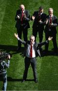 2 September 2018; Joe Brolly of the Derry 1993 All-Ireland winning Jubilee team salutes the crowd as the team are honoured prior to the GAA Football All-Ireland Senior Championship Final match between Dublin and Tyrone at Croke Park in Dublin. Photo by Dáire Brennan/Sportsfile