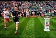 2 September 2018; Niall Morgan of Tyrone runs onto the pitch with team-mates prior to the GAA Football All-Ireland Senior Championship Final match between Dublin and Tyrone at Croke Park in Dublin. Photo by Stephen McCarthy/Sportsfile
