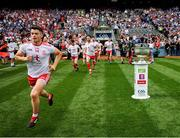 2 September 2018; Richard Donnelly of Tyrone runs onto the pitch with team-mates prior to the GAA Football All-Ireland Senior Championship Final match between Dublin and Tyrone at Croke Park in Dublin. Photo by Stephen McCarthy/Sportsfile