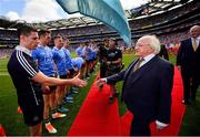 2 September 2018; The President of Ireland, Michael D Higgins shakes hands with Dublin captain Stephen Cluxton prior to the GAA Football All-Ireland Senior Championship Final match between Dublin and Tyrone at Croke Park in Dublin. Photo by Stephen McCarthy/Sportsfile
