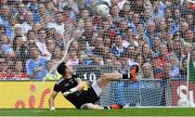 2 September 2018; Tyrone goalkeeper Niall Morgan is beaten for a goal by a Paul Mannion penalty for Dublin in the first half during the GAA Football All-Ireland Senior Championship Final match between Dublin and Tyrone at Croke Park in Dublin. Photo by Piaras Ó Mídheach/Sportsfile