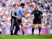 2 September 2018; Referee Conor Lane shakes hands with Cian O'Sullivan of Dublin leaving the pitch, who picked up an injury during the GAA Football All-Ireland Senior Championship Final match between Dublin and Tyrone at Croke Park in Dublin. Photo by Stephen McCarthy/Sportsfile