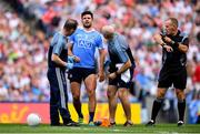 2 September 2018; Cian O'Sullivan of Dublin after picking up an injury resulting in him leaving the game during the GAA Football All-Ireland Senior Championship Final match between Dublin and Tyrone at Croke Park in Dublin. Photo by Stephen McCarthy/Sportsfile