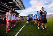 2 September 2018; Both teams stand for the playing of the national anthem prior to the GAA Football All-Ireland Senior Championship Final match between Dublin and Tyrone at Croke Park in Dublin. Photo by Stephen McCarthy/Sportsfile