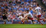 2 September 2018; Paul Mannion of Dublin is tackled by Tiernan McCann, left and Kieran McGeary of Tyrone resulting in a penalty during to the GAA Football All-Ireland Senior Championship Final match between Dublin and Tyrone at Croke Park in Dublin. Photo by Eóin Noonan/Sportsfile