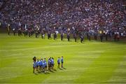 2 September 2018; The Dublin team prior to throw in of the GAA Football All-Ireland Senior Championship Final match between Dublin and Tyrone at Croke Park in Dublin. Photo by David Fitzgerald/Sportsfile