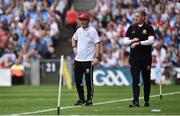 2 September 2018; Tyrone manager Mickey Harte with assistant manager Gavin Devlin during the GAA Football All-Ireland Senior Championship Final match between Dublin and Tyrone at Croke Park in Dublin. Photo by Oliver McVeigh/Sportsfile