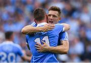 2 September 2018; Dublin's Paul Flynn, behind, and Con O'Callaghan celebrate after the GAA Football All-Ireland Senior Championship Final match between Dublin and Tyrone at Croke Park in Dublin. Photo by Piaras Ó Mídheach/Sportsfile