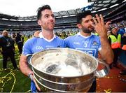 2 September 2018; Dublin's Michael Darragh Macauley, left, and Cian O'Sullivan celebrate with the Sam Maguire following the GAA Football All-Ireland Senior Championship Final match between Dublin and Tyrone at Croke Park in Dublin. Photo by Stephen McCarthy/Sportsfile