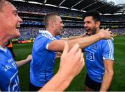 2 September 2018; Cian O'Sullivan celebrates with his Dublin team-mates Paul Mannion and Con O'Callaghan, left, following the GAA Football All-Ireland Senior Championship Final match between Dublin and Tyrone at Croke Park in Dublin. Photo by Stephen McCarthy/Sportsfile