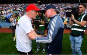 2 September 2018; Tyrone manager Mickey Harte, left, shakes hands with Dublin manager Jim Gavin following the GAA Football All-Ireland Senior Championship Final match between Dublin and Tyrone at Croke Park in Dublin. Photo by Ramsey Cardy/Sportsfile