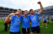 2 September 2018; Paul Mannion, left, Jack McCaffrey, centre, and Cian O'Sullivan of Dublin celebrate following the GAA Football All-Ireland Senior Championship Final match between Dublin and Tyrone at Croke Park in Dublin. Photo by Ramsey Cardy/Sportsfile