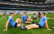 2 September 2018; Dublin players, John Small, left, Brian Fenton, centre, and Con O'Callaghan following the GAA Football All-Ireland Senior Championship Final match between Dublin and Tyrone at Croke Park in Dublin. Photo by Ramsey Cardy/Sportsfile