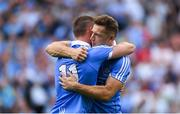 2 September 2018; Dublin players Con O'Callaghan, left, and Paul Flynn celebrate after the GAA Football All-Ireland Senior Championship Final match between Dublin and Tyrone at Croke Park in Dublin. Photo by Piaras Ó Mídheach/Sportsfile