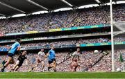 2 September 2018; Niall Scully of Dublin scores his side's second goal during the GAA Football All-Ireland Senior Championship Final match between Dublin and Tyrone at Croke Park in Dublin. Photo by Seb Daly/Sportsfile