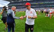 2 September 2018; Dublin manager Jim Gavin and Tyrone manager Mickey Harte after the GAA Football All-Ireland Senior Championship Final match between Dublin and Tyrone at Croke Park in Dublin. Photo by Brendan Moran/Sportsfile