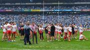 2 September 2018; Dublin manager Jim Gavin shakes hands with Tyrone secretary Dominic McCaughey after the GAA Football All-Ireland Senior Championship Final match between Dublin and Tyrone at Croke Park in Dublin. Photo by Brendan Moran/Sportsfile