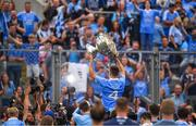 2 September 2018; Eoin Murchan of Dublin lifts the Sam Maguire Cup in front of Hill 16 after the GAA Football All-Ireland Senior Championship Final match between Dublin and Tyrone at Croke Park in Dublin. Photo by Brendan Moran/Sportsfile