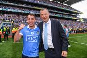 2 September 2018; Cormac Costello of Dublin with his dad John, Chief Executive of the Dublin County Board, after the GAA Football All-Ireland Senior Championship Final match between Dublin and Tyrone at Croke Park in Dublin. Photo by Ray McManus/Sportsfile