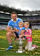 2 September 2018; Eoghan O'Gara of Dublin and daughters Fiadh, age 11 months, and Ella, age 7, celebrate with the Sam Maguire Cup following the GAA Football All-Ireland Senior Championship Final match between Dublin and Tyrone at Croke Park in Dublin. Photo by Seb Daly/Sportsfile
