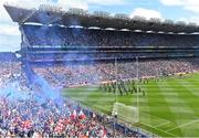2 September 2018; A general view of both teams during the parade prior to the GAA Football All-Ireland Senior Championship Final match between Dublin and Tyrone at Croke Park in Dublin. Photo by Seb Daly/Sportsfile