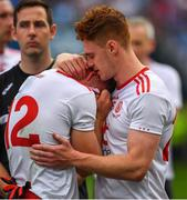 2 September 2018; A tearful Kieran McGeary of Tyrone is consoled by team-mate Conor Meyler after the GAA Football All-Ireland Senior Championship Final match between Dublin and Tyrone at Croke Park in Dublin. Photo by Brendan Moran/Sportsfile
