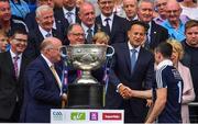 2 September 2018; Dublin captain Stephen Cluxton is ocngratulated by An Taoiseach Leo Varadkar T.D., after the GAA Football All-Ireland Senior Championship Final match between Dublin and Tyrone at Croke Park in Dublin. Photo by Brendan Moran/Sportsfile