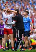 2 September 2018; John Small of Dublin is shown a red card by referee Conor Lane during the GAA Football All-Ireland Senior Championship Final match between Dublin and Tyrone at Croke Park in Dublin. Photo by Brendan Moran/Sportsfile