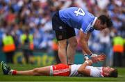 2 September 2018; Michael Darragh Macauley of Dublin consoles Michael McKernan of Tyrone after the GAA Football All-Ireland Senior Championship Final match between Dublin and Tyrone at Croke Park in Dublin.   Photo by Ray McManus/Sportsfile