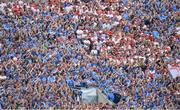 2 September 2018; Dublin fans cheer on their side as Tyrone fans stay quiet in Hill 16 during the GAA Football All-Ireland Senior Championship Final match between Dublin and Tyrone at Croke Park in Dublin. Photo by Brendan Moran/Sportsfile