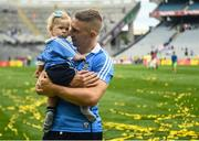 2 September 2018; Eoghan O'Gara of Dublin celebrates with his daughter Fiadh, age 11 months, after the GAA Football All-Ireland Senior Championship Final match between Dublin and Tyrone at Croke Park in Dublin. Photo by David Fitzgerald/Sportsfile