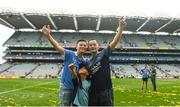 2 September 2018; Dublin mentor Jason Sherlock celebrates with his son Joshua, age 13, and cousin Angela, age 8, after the GAA Football All-Ireland Senior Championship Final match between Dublin and Tyrone at Croke Park in Dublin. Photo by David Fitzgerald/Sportsfile