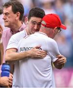2 September 2018; An emotional Tyrone Manager Mickey Harte along with his son Michael Junior, also the team Physiotherapist after the GAA Football All-Ireland Senior Championship Final match between Dublin and Tyrone at Croke Park in Dublin. Photo by Oliver McVeigh/Sportsfile