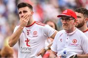 2 September 2018; A disappointed Tiernan McCann of Tyrone along side Tyrone Manager Mickey Harte after the GAA Football All-Ireland Senior Championship Final match between Dublin and Tyrone at Croke Park in Dublin. Photo by Oliver McVeigh/Sportsfile