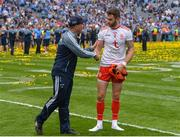 2 September 2018; Dublin manager Jim Gavin shakes hands with Ronan McNamee of Tyrone after the GAA Football All-Ireland Senior Championship Final match between Dublin and Tyrone at Croke Park in Dublin. Photo by Oliver McVeigh/Sportsfile