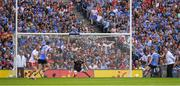 2 September 2018; Paul Mannion of Dublin shoots a 21st minute penalty, past the Tyrone goalkeeper Niall Morgan, during the GAA Football All-Ireland Senior Championship Final match between Dublin and Tyrone at Croke Park in Dublin. Photo by Ray McManus/Sportsfile