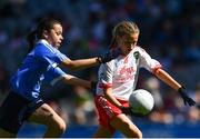 2 September 2018; Mae Langan, St Columba's PS, Clady, Co Tyrone, in action against Aoife Kelly, Rathoe NS, Tullow, Co Carlow, representing Dublin, during the INTO Cumann na mBunscol GAA Respect Exhibition Go Games at the Electric Ireland GAA Football All-Ireland Minor Championship Final match between Kerry and Galway at Croke Park in Dublin. Photo by Seb Daly/Sportsfile