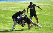 3 September 2018; Jonathan Sexton, Noel Reid and Adam Byrne during Leinster rugby squad training at Energia Park in Dublin. Photo by Brendan Moran/Sportsfile