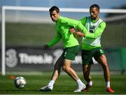 3 September 2018; Séamus Coleman, left, and Conor Hourihane during Republic of Ireland squad training at the the FAI National Training Centre in Abbotstown, Dublin. Photo by Stephen McCarthy/Sportsfile