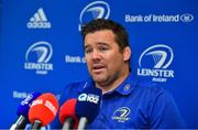 3 September 2018; Scrum coach John Fogarty during a Leinster Rugby Press Conference at Leinster Rugby Headquarters in Dublin. Photo by Brendan Moran/Sportsfile