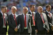 2 September 2018; Enda Gormley, Don Kelly, Dermot McNicholl, Eamon Burns, Danny Quinn and  Brian McCormack of the Derry 1993 All-Ireland winning team who were honoured prior to the GAA Football All-Ireland Senior Championship Final match between Dublin and Tyrone at Croke Park in Dublin.  Photo by Oliver McVeigh/Sportsfile