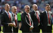 2 September 2018; Damian Barton, Damian Cassidy, Joe Brolly, Seamus Downey and Enda Gormley of the Derry 1993 All-Ireland winning team who were honoured prior to the GAA Football All-Ireland Senior Championship Final match between Dublin and Tyrone at Croke Park in Dublin. Photo by Oliver McVeigh/Sportsfile