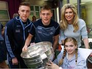 3 September 2018; Dublin footballers Paddy Small, left, and Con O'Callaghan with Chloe Byrne, age 12, and her mother Louise Loughman-Byrne, from Foxrock, Co Dublin, during the All-Ireland Senior Football Champions visit to Our Lady's Children's Hospital, Crumlin in Dublin. Photo by Piaras Ó Mídheach/Sportsfile