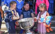 3 September 2018; Dublin footballer Philly McMahon with Sophie Lawlor, age 8, from Templeogue, left, and Lucy Silke, age 6, from Lucan, during the All-Ireland Senior Football Champions visit to Our Lady's Children's Hospital, Crumlin in Dublin. Photo by Piaras Ó Mídheach/Sportsfile